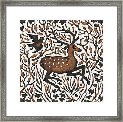 Woodland Deer Framed Print by Nat Morley