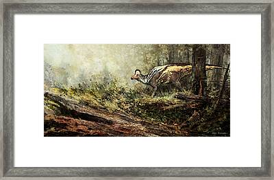 Woodland Encounter - Corythosaurus Framed Print by Angie Rodrigues