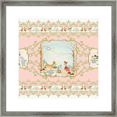 Woodland Fairy Tale - Blush Pink Forest Gathering Of Woodland Animals Framed Print by Audrey Jeanne Roberts
