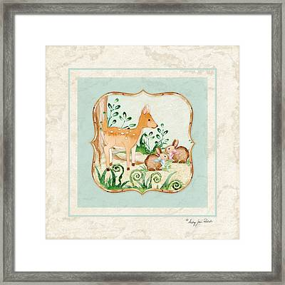 Woodland Fairy Tale - Deer Fawn Baby Bunny Rabbits In Forest Framed Print by Audrey Jeanne Roberts