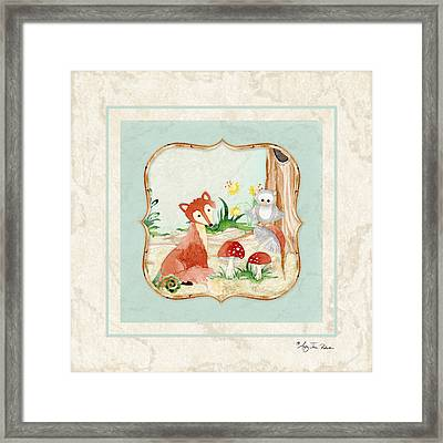 Woodland Fairy Tale - Fox Owl Mushroom Forest Framed Print by Audrey Jeanne Roberts