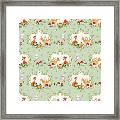 Woodland Fairy Tale - Mint Green Sweet Animals Fox Deer Rabbit Owl - Half Drop Repeat Framed Print by Audrey Jeanne Roberts