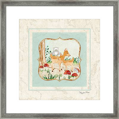 Woodland Fairy Tale - Owl On Deer Fawns Back In Forest Framed Print by Audrey Jeanne Roberts