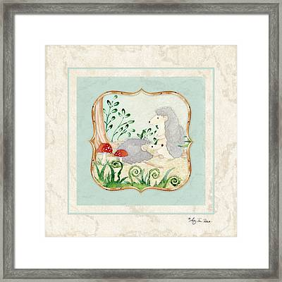 Woodland Fairy Tale - Woodchucks In The Forest W Red Mushrooms Framed Print by Audrey Jeanne Roberts