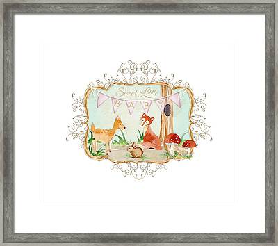 Woodland Fairytale - Banner Sweet Little Baby Framed Print