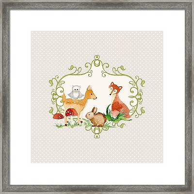 Woodland Fairytale - Grey Animals Deer Owl Fox Bunny N Mushrooms Framed Print by Audrey Jeanne Roberts