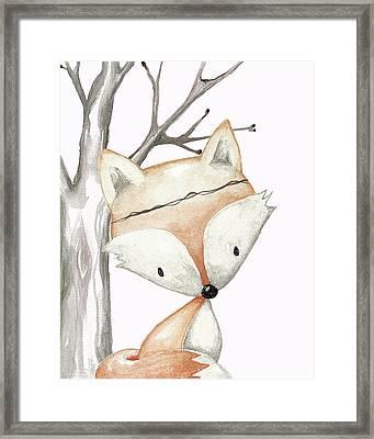 Woodland Fox Boho Baby Nursery Decor Framed Print