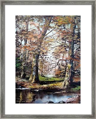 Woodland Pond  Framed Print by Lee Piper