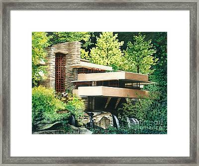 Fallingwater-a Woodland Retreat By Frank Lloyd Wright Framed Print by Barbara Jewell