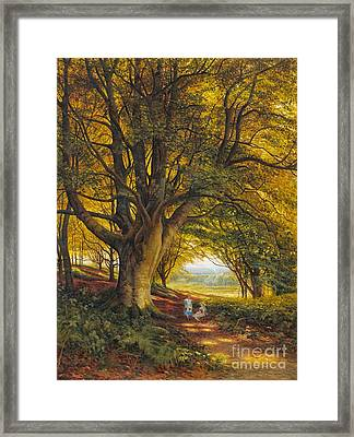 Woodland Scene In Summer With Children On A Path Framed Print