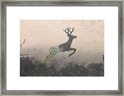 Woodland Stag Framed Print by Amanda Lakey