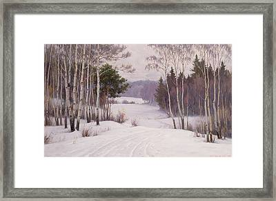 Woodland Trail Framed Print by Boris Walentinowitsch Scherkow