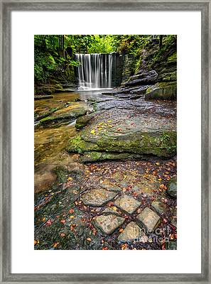 Woodland Waterfall Framed Print by Adrian Evans