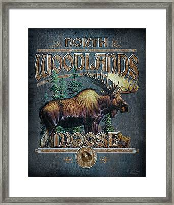 Woodlands Moose Sign Framed Print by JQ Licensing