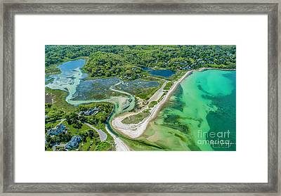 Framed Print featuring the photograph Woodneck Beach At 400 Feet by Michael Hughes