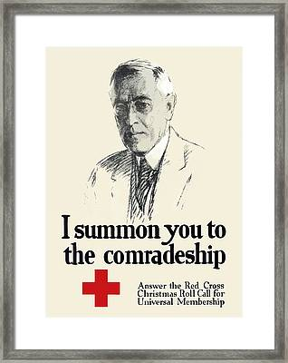 Woodrow Wison Red Cross Roll Call Framed Print by War Is Hell Store
