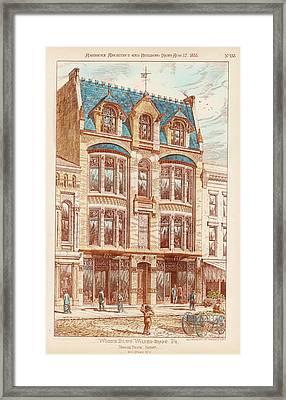 Wood's Building. Wilkes Barre Pa. 1878 Framed Print