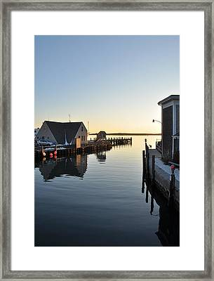 Woods Hole In Winter Framed Print by Gerald Hiam