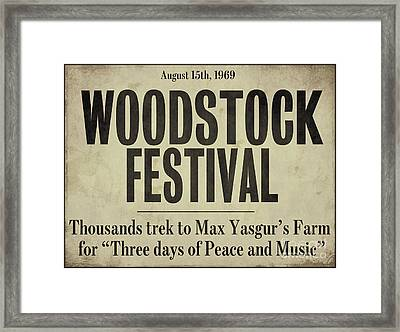 Woodstock Festival Newspaper Framed Print by Mindy Sommers