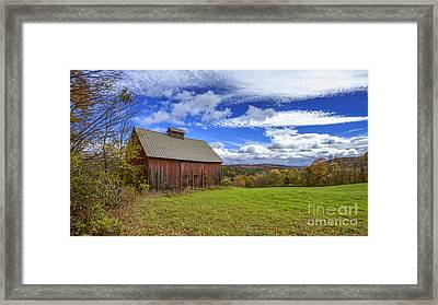 Woodstock Vermont Old Red Barn In Autunm Framed Print by Edward Fielding