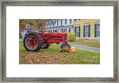 Woodstock Vermont Red Tractor Framed Print by Edward Fielding