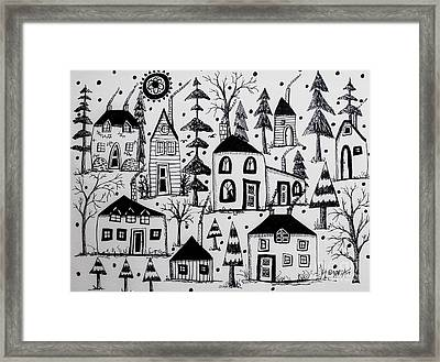 Woodsy Village Framed Print