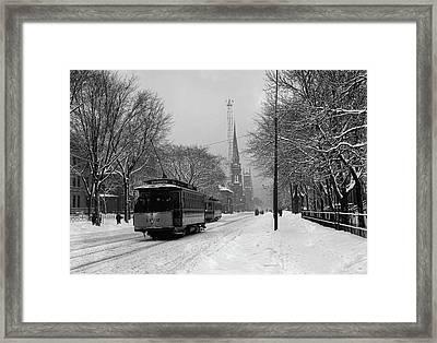 Woodward Avenue In Winter - Detroit C1905 Framed Print