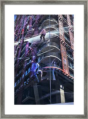 Woodward Building Stanley Cup Riots Framed Print by Theresa Tahara
