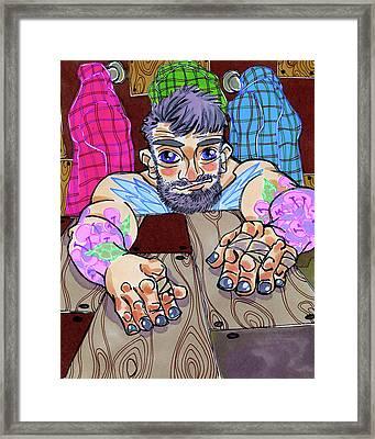Woodworked Hands Framed Print