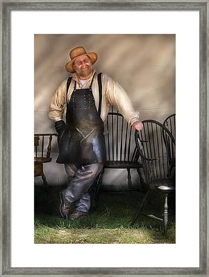 Woodworker - The Chair Maker  Framed Print by Mike Savad