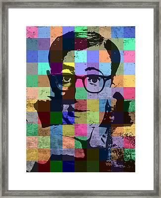 Woody Allen Director Hollywood Pop Art Patchwork Portrait Pops Of Color Framed Print by Design Turnpike