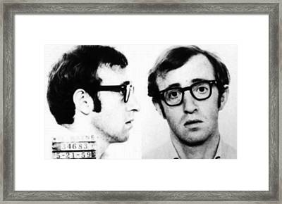 Woody Allen Mug Shot For Film Character Virgil 1969 Framed Print by Tony Rubino
