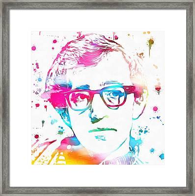 Woody Allen Paint Splatter Framed Print by Dan Sproul