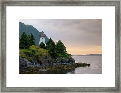 Woody Point Lighthouse - Bonne Bay Newfoundland At Sunset Framed Print