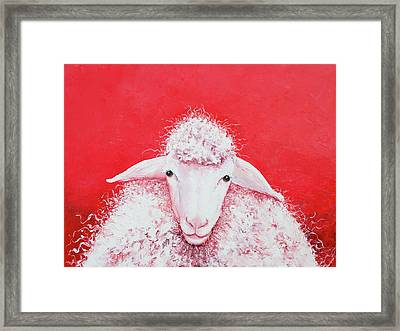 Woolly Sheep Painting, Gabriel Framed Print by Jan Matson