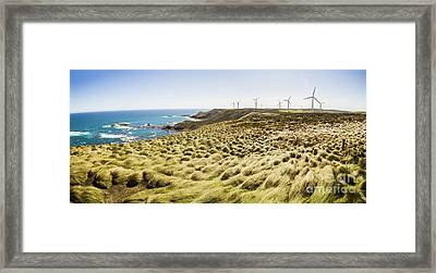 Woolnorth Wind Farm And Ocean Landscape Tasmania Framed Print