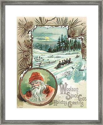 Woolson Spice Company Christmas Card Framed Print by John Henry Bufford
