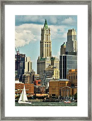 Woolworth Building From Hudson River Framed Print by Allan Einhorn