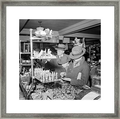 Woolworths Christmas Shoppers, 1941 Framed Print