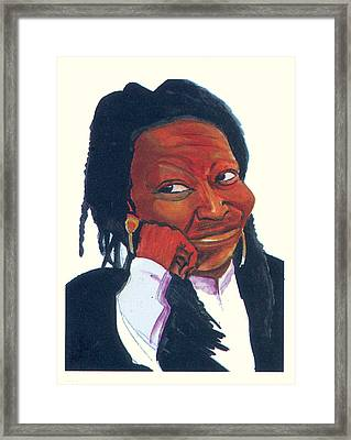 Framed Print featuring the painting Woopy Goldberg by Emmanuel Baliyanga