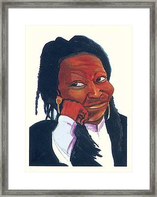 Woopy Goldberg Framed Print by Emmanuel Baliyanga