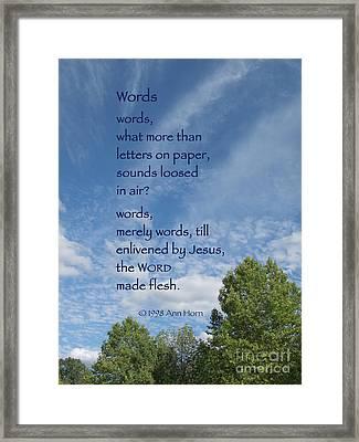 Words Framed Print by Ann Horn