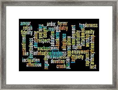 Words Of Affection Framed Print by Bill Cannon