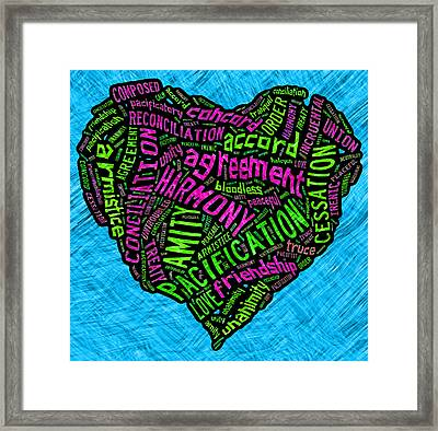 Words Of Peace Heart Framed Print by David G Paul