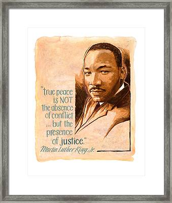 Words Of Peace  Man Of Peace  Martin Luther King Jr Framed Print