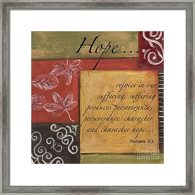 Words To Live By Hope Framed Print by Debbie DeWitt