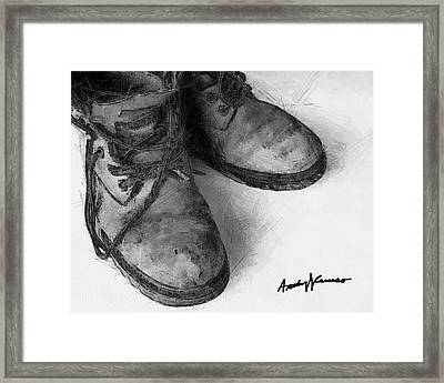 Work Boots Framed Print by Anthony Caruso