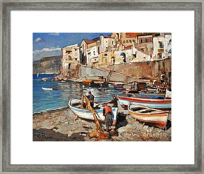 Work Never Ends For Amalfi Fishermen Framed Print