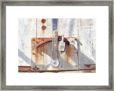 Work Trailer Lock Number One Framed Print by Ken Powers