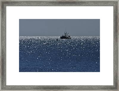 Workday On The Sound Framed Print by Gerald Hiam